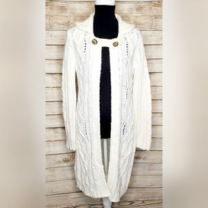 Banana Republic Ivory Cable Knit Duster Cardigan